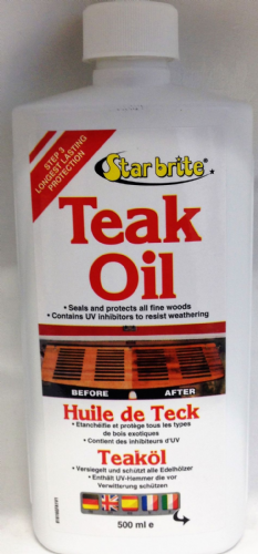 Starbrite Teak Oil 500ml Seals and Protects Fine Woods.